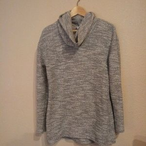 Womans small gray sweater with oversized neck